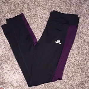 Adidas Leggings w/ Purple Trim